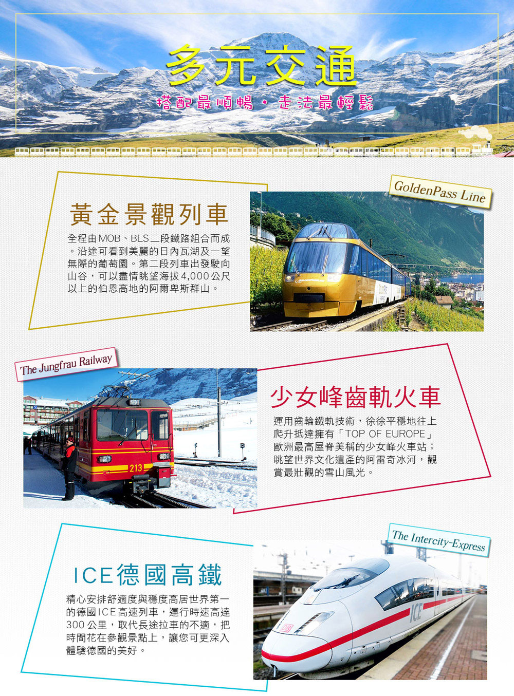 多元交通-景觀列車+少女峰齒軌火車+ICE德國高鐵